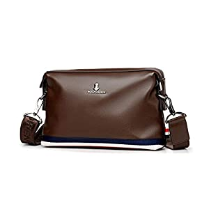 Whatna 3way ショルダーバッグ メンズ バッグ セカンド バッグ 小さめ iPad mini収納可 人気型 耐久性 皮 革 レザー 斜めがけ バッグ 男性用 紳士用 黒 ブラウン (L309-ブラウンA)