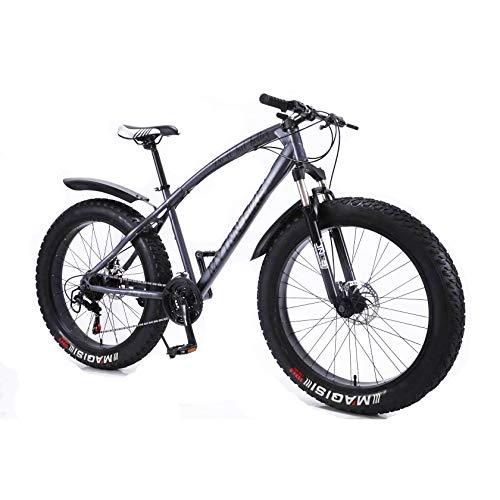 MYTNN Fatbike 26 Zoll 21 Gang Shimano Fat Tyre 2020 Mountainbike 47 cm RH Snow Bike Fat Bike (Grau Matt Rahmen/Schwarze Felgen)