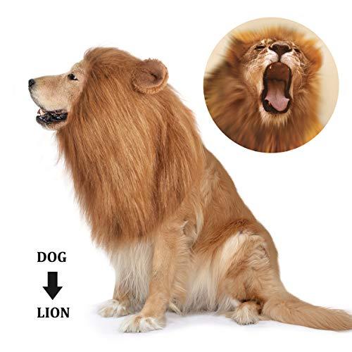 Dog Lion Mane,Pet Dog Lion Mane Costume,Adjustable Lion Mane for Dog Funny Halloween Lion Costume with Ear Dog Wig for Medium or Large Sized Dogs