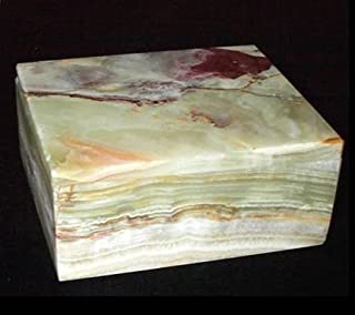 Khan Imports Decorative Green Onyx Stone Box, Handcrafted Marble Stone Box with Lid - 5 Inch