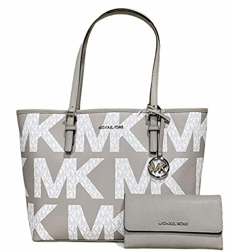 Michael Kors Jet Set Travel Medium Carryall Tote Graphic Logo White MK Bundled With Jet Set Large Trifold Wallet in Pearl Grey