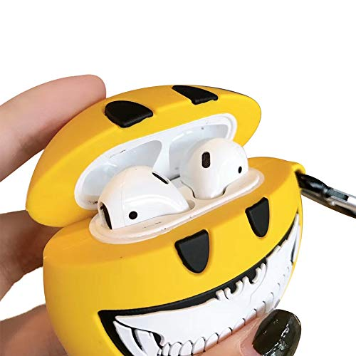 Aikeduo Suitcase for Airpods 2 Case Protective Silicone Cover Skin for Airpods1 Charging Case Pet Keychain Cartoon Character Emoji Smiley for Airpods 2 Case (Yellow)