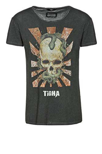 Tigha Herren T-Shirt Snake Skull Wren Schwarz XL