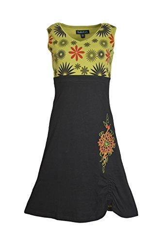 Tattoopani damesjurk met V-hals zonder mouwen met bloemenpatroon en borduursel.