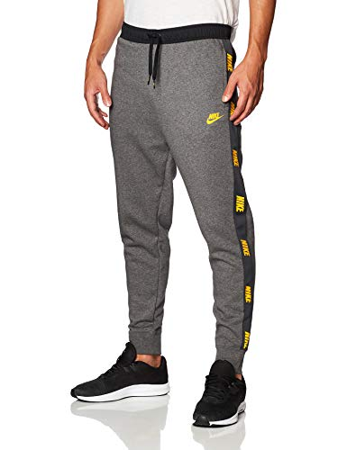 Nike Herren M NSW CE JGGR BB HYBRID Hose, Charcoal Heather/Black/University Gold, M