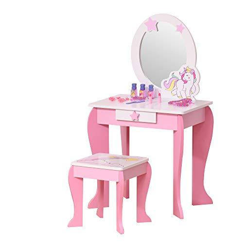 HOMCOM 2-Set Kinderschminktisch mit Hocker Frisiertisch Frisierkommodemit Schublade Spiegel für 3-8 Jahre MDF Akryl Rosa+Weiß 49 x 34 x 90 cm