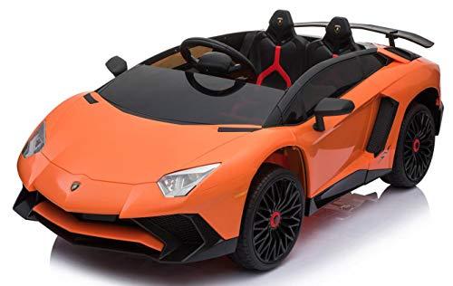 MINICARS Style Lamborghini Aventador SV 131 cm Voiture électrique pour Enfant (Orange Mat)