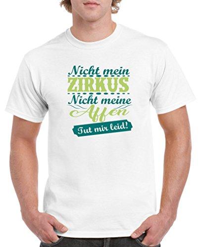 Comedy Shirts - Nicht mein Zirkus, Nicht Meine Affen. TUT Mir leid! - Herren T-Shirt - Weiss/Türkis-Hellgrün Gr. S