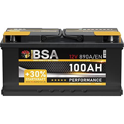 BSA Autobatterie 100Ah 12V Batterie +30% Startleistung ersetzt 88Ah 90Ah 92Ah 95Ah (890A Startkraft)