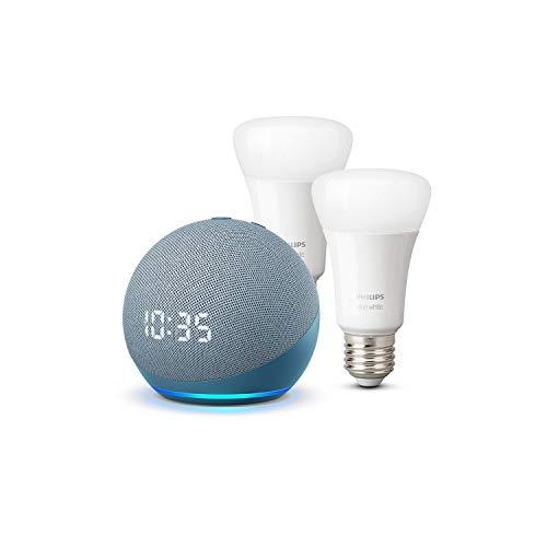 Der neue Echo Dot (4. Generation) mit Uhr, Blaugrau + Philips Hue White LED-Lampe Doppelpack (E27), kompatibel mit Bluetooth und Zigbee (kein Hub erforderlich)