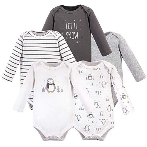 Hudson Baby Unisex Baby Cotton Long-sleeve Bodysuits, Gray Penguin, 12-18 Months
