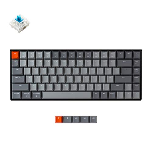 Keychron K2 Wireless Mechanical Keyboard with White LED Backlit/Gateron Blue Switch/Wired USB/Anti Ghosting /84 Key N-Key Rollover, Bluetooth Gaming Keyboard for Mac Windows PC Gamer-Version 2