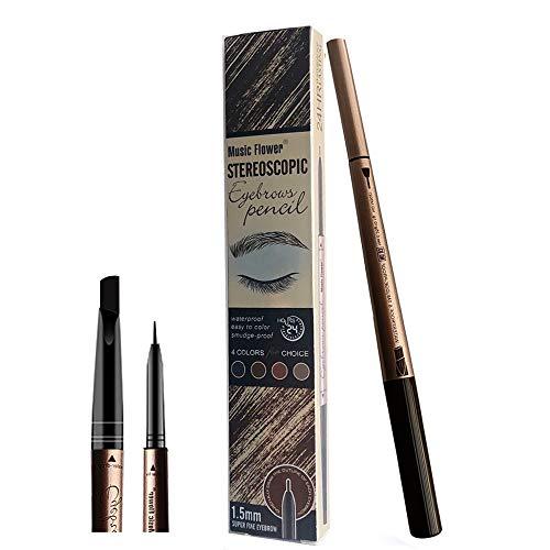 Crayon Sourcil, Teinture sourcil, Sourcils Maquillage, Crayon Sourcil Semi Permanent Waterproof, Coloration Sourcil, Crayon à Sourcils à Double Extrémité, 3# Black (Noir)