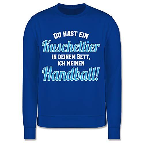 Shirtracer Handball WM 2021 Kinder - Du hast Dein Kuscheltier im Bett, ich Meinen Handball! - 104 (3/4 Jahre) - Royalblau - Du hast EIN Kuscheltier ich Mein Handball - JH030K - Kinder Pullover
