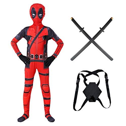 Deadpool Kostuum Voor Volwassen Kinderen Wordt Geleverd Met 2 Pu-zwaarden, Halloween Xmas Kerst Bodysuit Verjaardag Carnaval Elastische Spandex Jumpsuit, Kid XXL (145~155)-Red