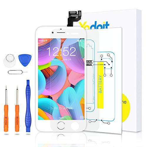 Yodoit Completo Display per iPhone 6s Bianco, 4,7'' Schermo Retina LCD Vetro Touch Screen Digitizer Parti di Ricambio (con Home Pulsante, Fotocamera, Sensore Flex) Utensili Inclusi