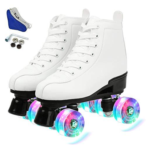 XUDREZ Women's Roller Skates,Double Row Skates Adjustable Leather High-top...