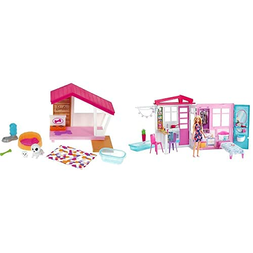 Barbie Set de Juego con Caseta de Perro, 2 Perritos y Accesorios de Juguete para Muñeca (Mattel GRG78) y Casa Amueblada Pleglable con Cocina, Piscina, Dormitorio y Lavabo, Muñeca Rubia (Mattel GWY84)