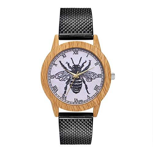 CHOUCHOU Colgante Pendientes Cuarzo con Encanto Reloj Elegante Casual de Las señoras Redondo Grande del Reloj de la joyería Accesorios DecorationT396-F, Color: Rosa de Oro (Color : Black)