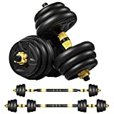 HOTMUZ Adjustable Dumbbells Barbell Weight Pair 2 in 1 with Connector, Adjustable Dumbbell Barbell Sets Total 44lbs,Non-Slip Neoprene Hand,Lifting Dumbells for Body Workout Home Gym