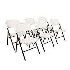 "Your purchase includes Six AmazonBasics Folding Plastic Chairs in White color Chair dimensions (each) – 22.3"" D x 19.6"" W x 36"" H 