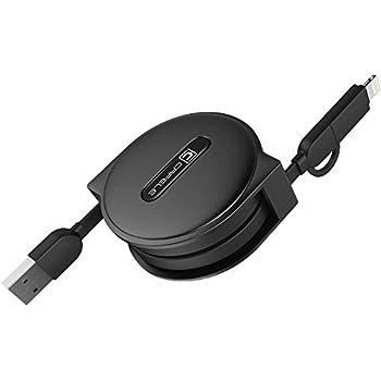 CAFELE 2-in-1 (Lightning + Micro USB) USB充電ケーブル1m 巻取り式 五段階調節 急速充電 高速データ転送 伸縮式 耐久 軽量 コンパクト かわいい ライトニング などのAndroid携帯電話/タタブレットPC/Apple iPhoneなどの 対応 (2-in-1, ブラック)
