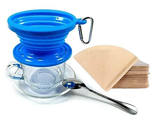 Kuke Faltbarer Kaffeefilter aus Silikon mit 100 Stück Kaffeefilterpapier ,Kaffeetropfer Kaffee Dripper für Outdoor, Camping, Reisen und Büro (Blau)