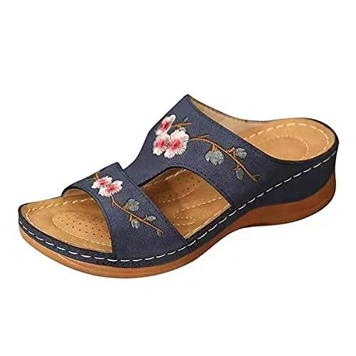 ZYLL Frauen Slipper Open Toe Bequeme Sandale Weiche Premium Orthopädische Low Heels Walking Sandalen Zehenkorrektorkissen,Blau,43