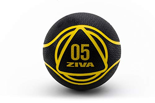 ZIVA Medicine Ball 5 Kg Balón Medicinal, Unisex Adulto, Negro, Talla única