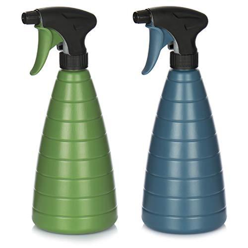 com-four® 2X Blumensprüher - Sprühflasche mit 28/400 Gewinde zur Bewässerung von Pflanzen - Wassersprühflasche zum Wasserzerstäuben (2 Stück - blau/Olive)