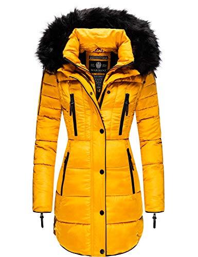 Marikoo Damen Winter Mantel Steppmantel Moonshine (vegan hergestellt) Yellow Gr. XXL