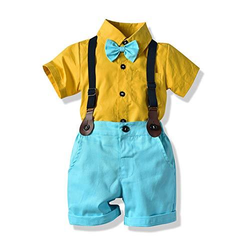 Tem Doger Little Boys Gentleman Outfit Suits Baby Boys Set Long/Short Sleeves Shirt+Bowtie+Vest/Suspender +Pants/Shorts (Green, 100/3T)