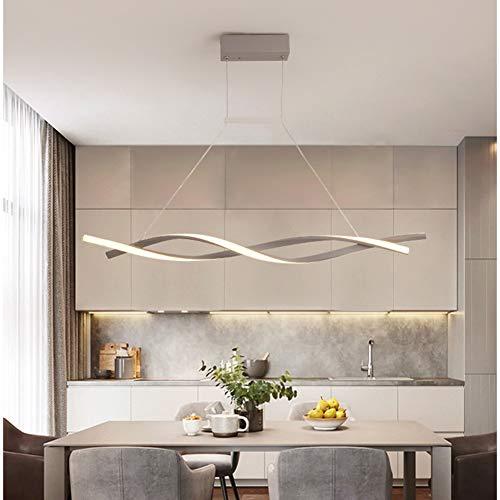 FCX-LIGHT Lampada a Sospensione LED Dimmerabile con Telecomando Luce Pendente Moderno Creativo Spirale Design Lampadario per Isola della Cucina Bar Sala da Pranzo Salotto Loft,Gray,L120CM