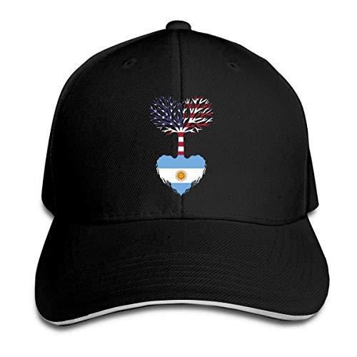Gorra de Béisbol para Mujeres y Hombres Gorra Argentina de Algodón Americano Adulto Gorra de Papá Noel Ajustable Vintage Sports Fan Caps Negro Neto Rojo 18467