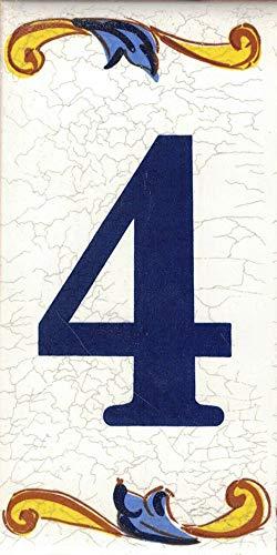 TORO DEL ORO Números casa. Numeros y Letras en azulejo. Calca cerámica. Estilo craquelé. Nombres y direcciones. Diseño Craquelé Mediana 5x10 cms (Número cuatro'4')
