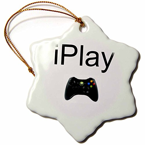 3dRose orn_180064_1 Iplay, Black Lettering on White Background, Picture of Game Controller-Snowflake Ornament, Porcelain, 3-Inch