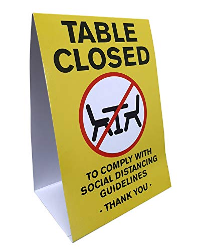Table Closed Social Distancing Guidelines Table Tent for Restaurant Cafeteria Break Room Work Place School - 25 Pack
