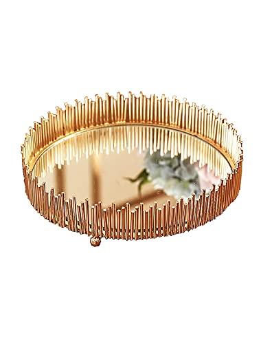 QAZX Bandeja de metal con espejo de vidrio, bandeja de metal, sala de exposiciones, joyería cosmética y postre (color oro)