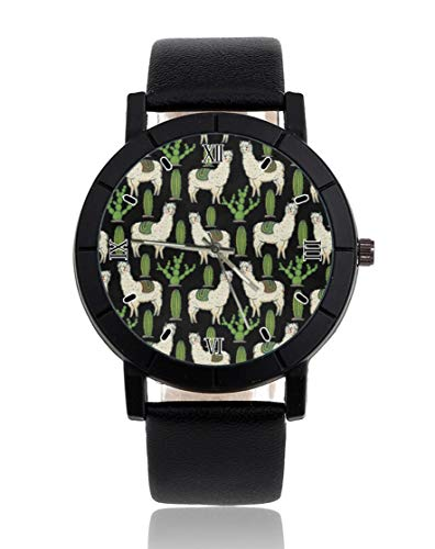 Llama Kaktus Sukkulenten personalisierte personalisierte Armbanduhr Casual schwarzes Lederband Armbanduhr für Herren...