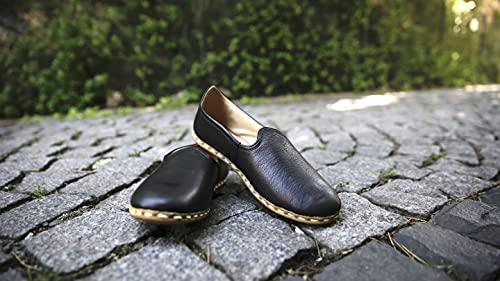 GrossLowe Zapatos de piel hechos a mano para mujer, estilo casual, tipo 1, Negro , 38