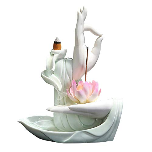 Räucherstäbchenhalter mit Buddha-Palme, Wasserfall-Rückfluss-Räucherkegel, Heim-Keramik-Dekoration, Handarbeit, Geschenk, Rückfluss-Räucherkegelhalter, Brenner (C)