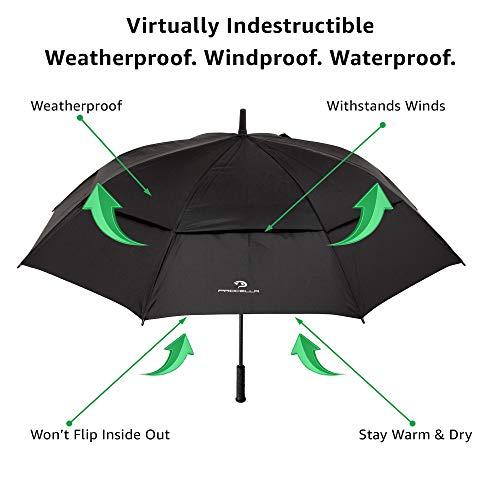 Procella Golf Regenschirm, 157 cm groß, sturmsicher, automatisch zu öffnen, Regen- und Windresistent Golfschirme(Black) - 3