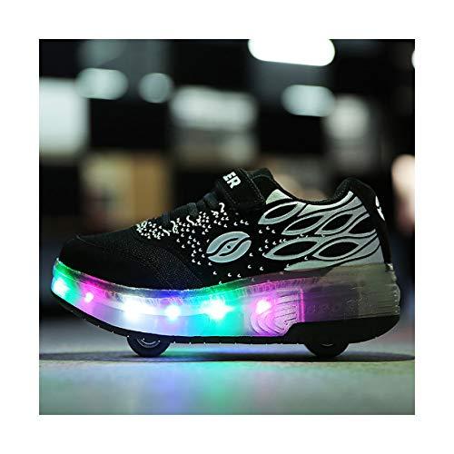 INSISTON Skateboardschuhe mit Rollen, Kinder Schuhe mit Rollen, LED Rollschuhe mit Räder, Outdoor-Sportarten Gymnastik Blinken Turnschuhe,Schwarz,36