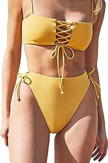 Women's Spaghetti Strap Bandeau Lace Up High Waist 2PCS Bikini Set Simsuit