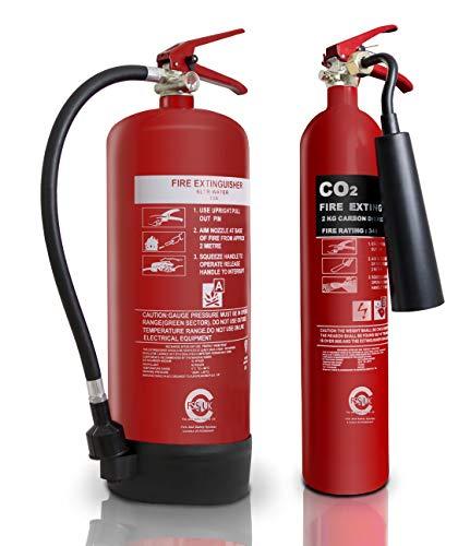 Extra Value set estintore. 6l/L acqua + 2kg CO2estintori. CE e British Standard Kitemarked. Ideale per uffici Workplace officine magazzini garage alberghi ristoranti