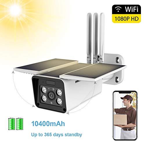 FUVISION Solar Betriebene Outdoor Überwachungskamera, 1080p WiFi Kamera Kabellos, IP66 Wasserdicht, 2 Wege Audio, Nachtsicht, Bewegungserkennung, Smarte Überwachung mit iOS und Android App.