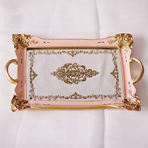 Dekoratives Tablett Schmuck Teller Dessert Kuchen Tablett Küchenorganisation Aufbewahrungstablett Kosmetische Ehering-Tablett Geeignet für die Inneneinrichtung ( Farbe : Pink , Size : 35X23.5CM )