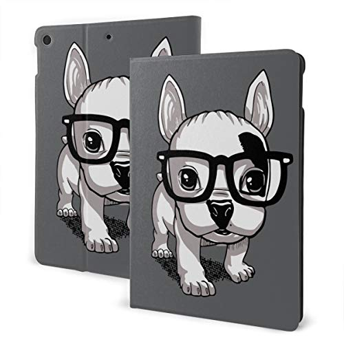 Lovely Striped Frenchie Puppy Flip Protective PU Leather Wallet Tablet Case for IPad 7th 10.2', Rotating Stand Smart Magnetic Auto Wake Up/Sleep Cover Cases
