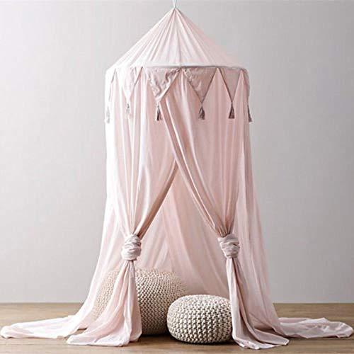 linyiming-gongyibaishe01 Kid Baby Bed Canopy Cubrecama Mosquitera Cortina Ropa de Cama Cúpula Redonda Tienda Algodón, Blanco