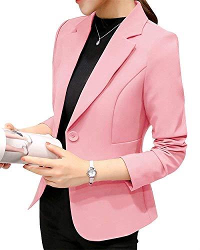 ORANDESIGNE Donna Manica Lunga Colletto Cappotto Elegante Ufficio Business Blazer Top Gilet Corto OL Carriera Tailleur Giacca Rosa IT 44